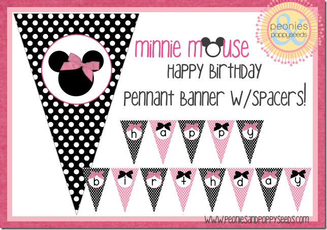 minnie mouse pennant banner copy {printables for the bday ...