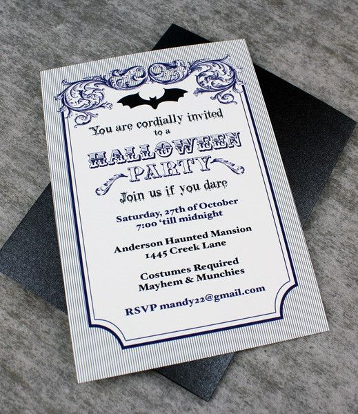 Halloween Invitation Template With Vampire Bat From