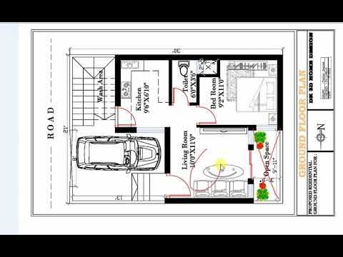 1 bhk small house plan 600 SQ FT 1BHK HOUSE PLAN WITH CAR PARKING