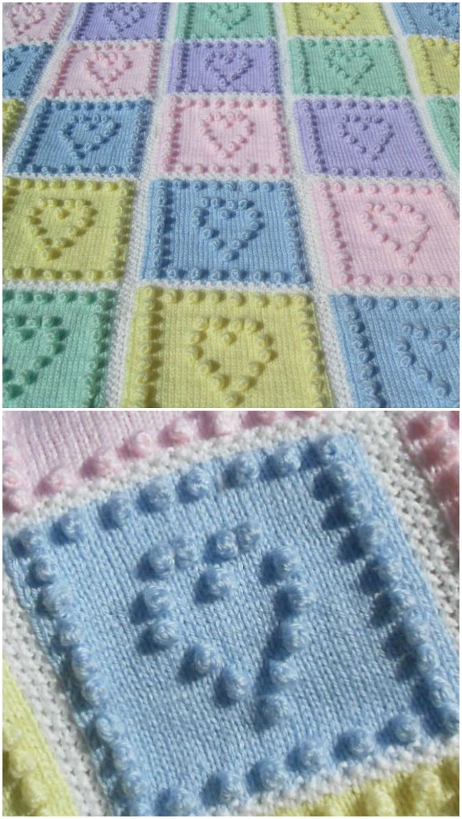 Knit Heart Squares Baby Blanket Pattern Is The Sweetest ...