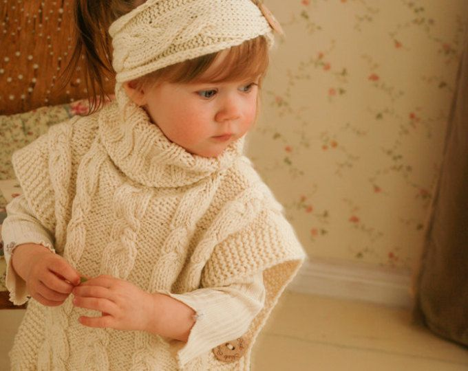 KNITTING PATTERN poncho Robyn and headband with braided cables ...