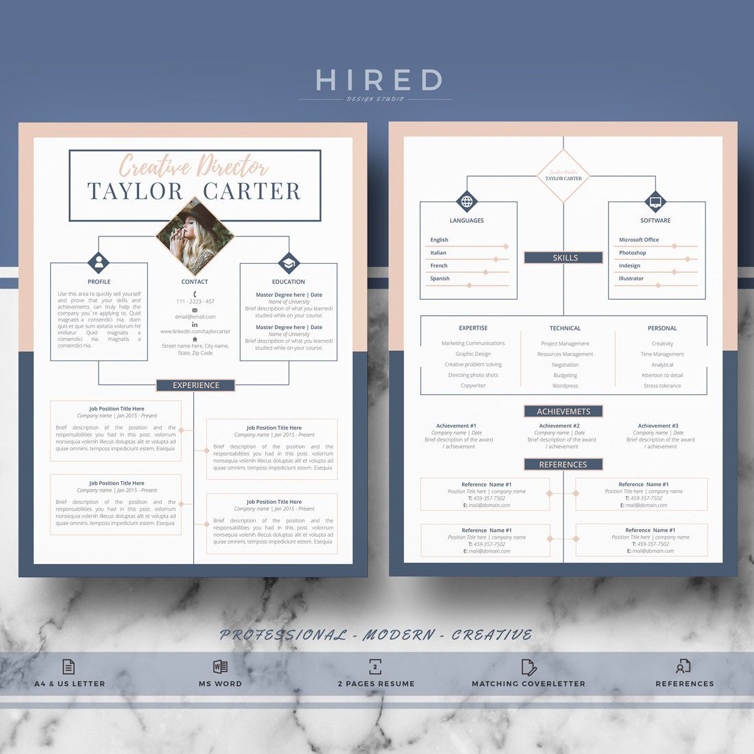 creative resume template for word taylor 100 editable