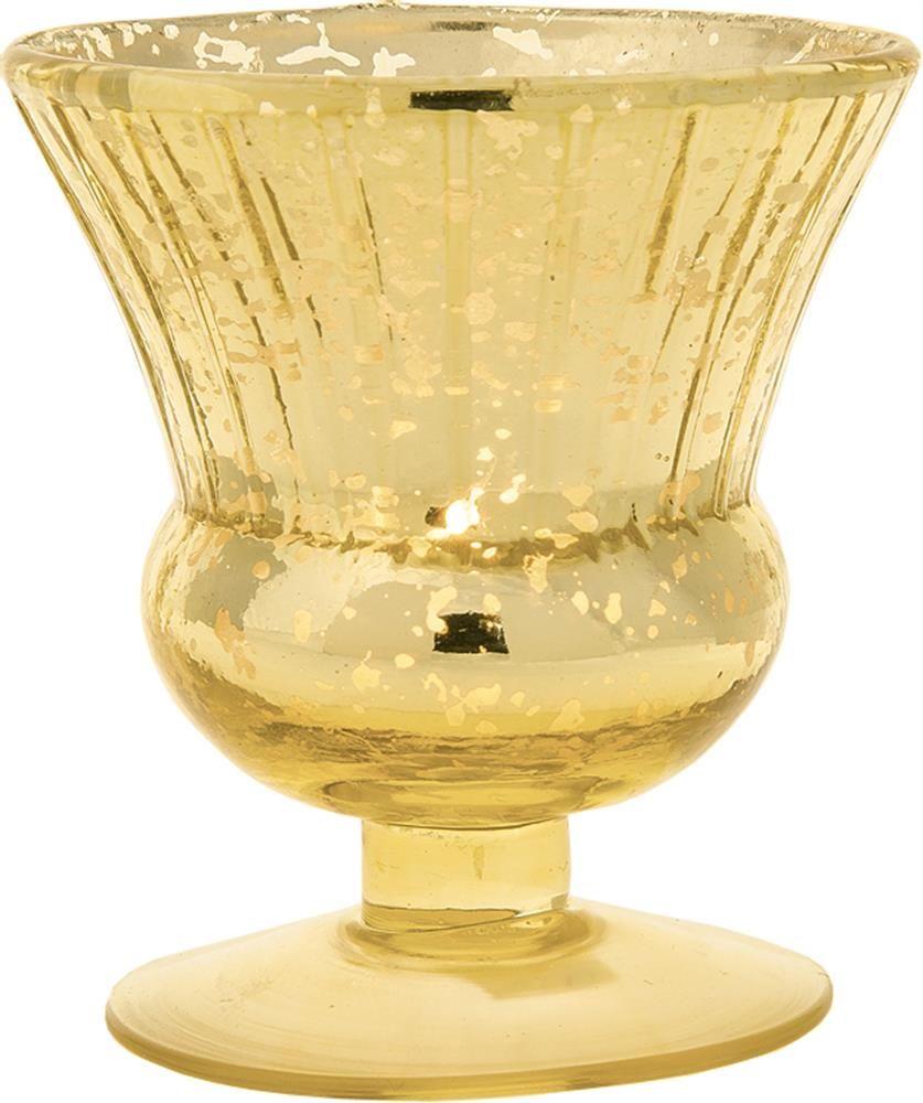 Fluted Urn Design Mercury Glass Vase, Gold | Votive | Pinterest ...