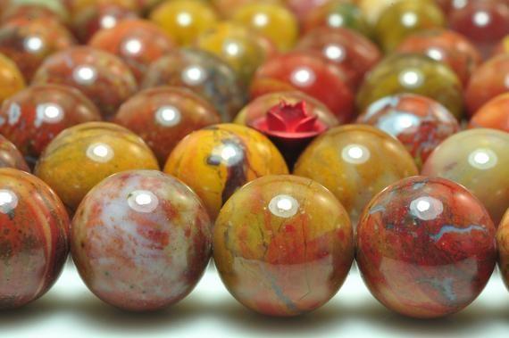 12mm Rainbow Red Jasper 12mm Natural Gemstone 32pcs Smooth Round Beads 15 Inch Strand Red Jasper Round Beads Gemstone Beads