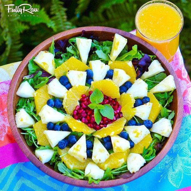 Dynamic Orange Tomato Dressing Video Raw Vegan Recipe: Sunny Delight Salad! Arugula With Pineapple, Orange