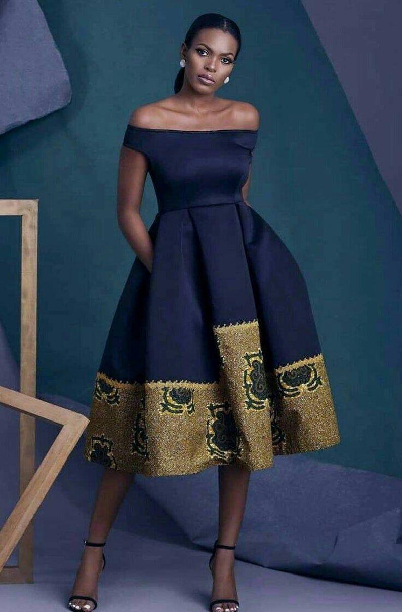 Ankara dress, African print dress, offshoulder dress, pleated skirt, women clothing, Nana Adwoa