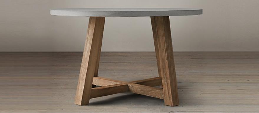 mesa redonda madera concreto - Mesa Redonda Madera