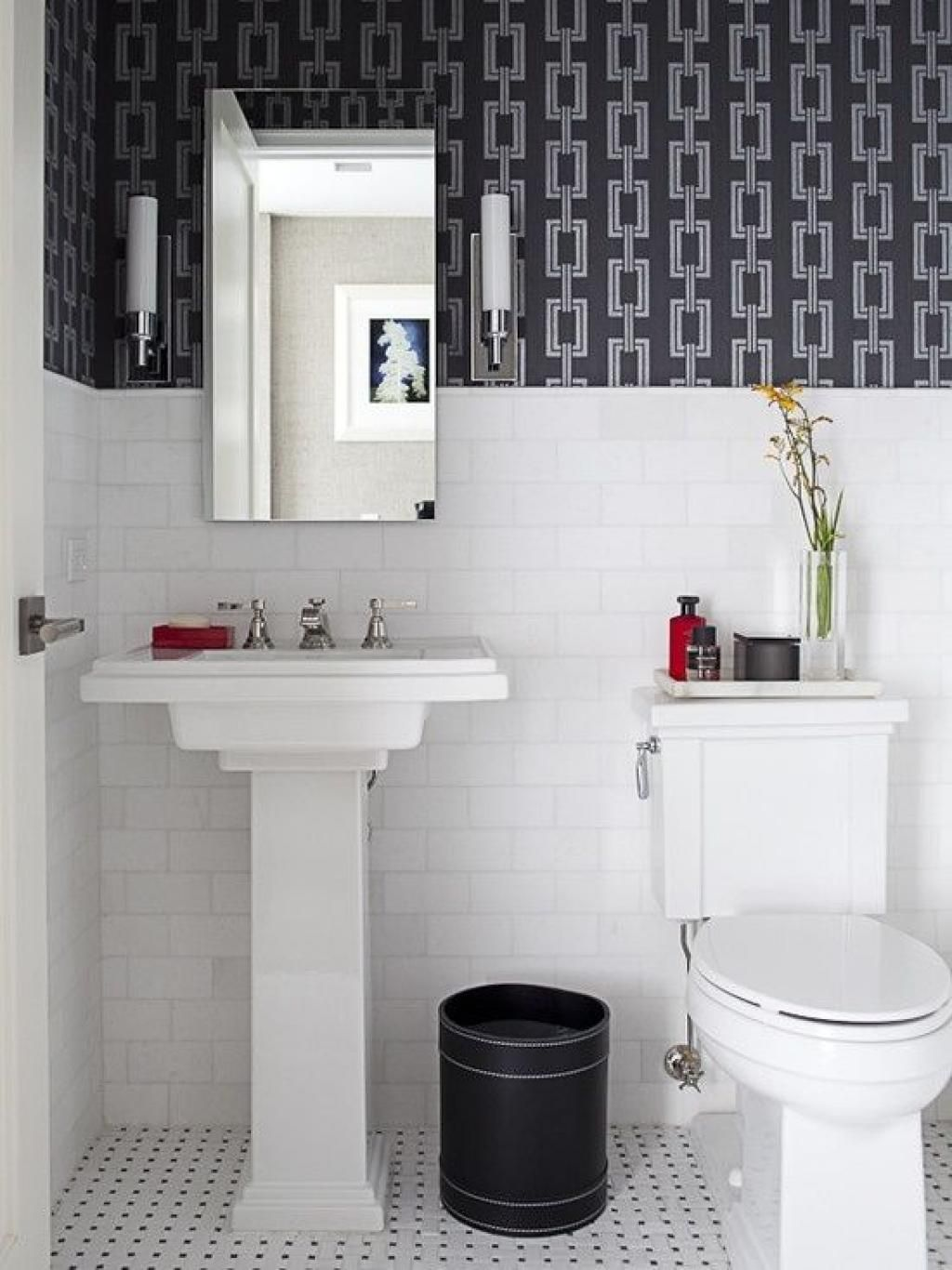 Images Photos Creative Black and White Small Bathroom with Chains Bathroom Wallpaper Ideas u Home Inspiring