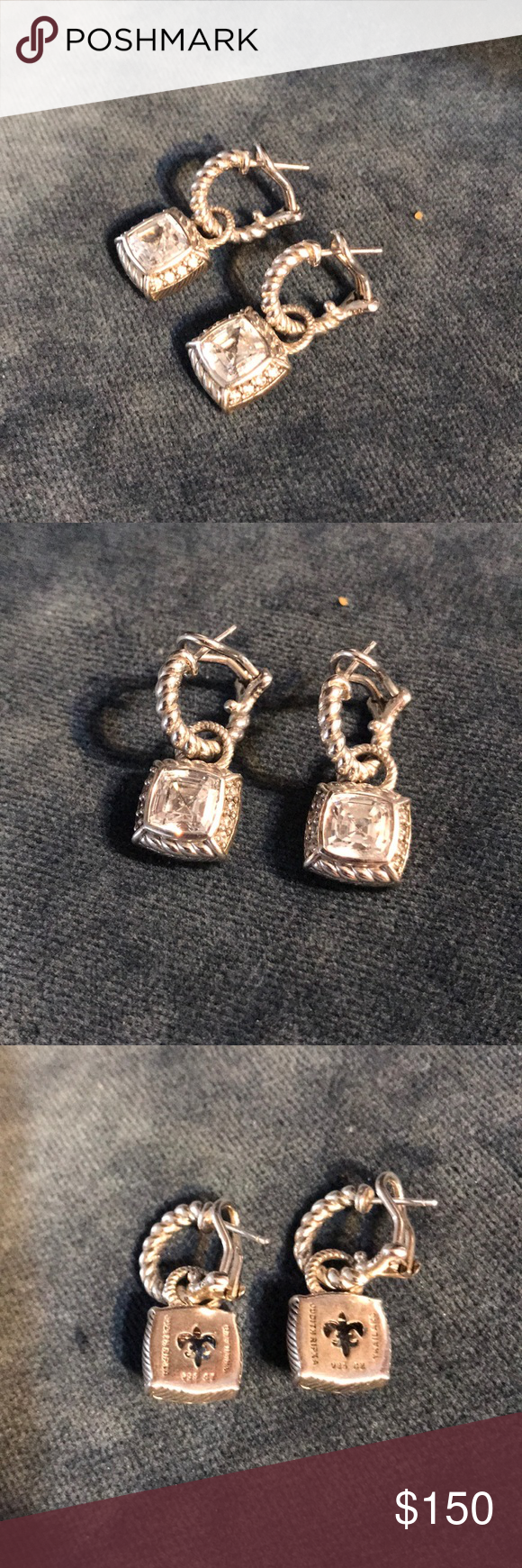 Cz Sterling Judith Ripka Earrings Silver And Charm Signed