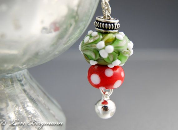 Mistletoe Large Hole Charm Necklace by LoriBergmann on Etsy