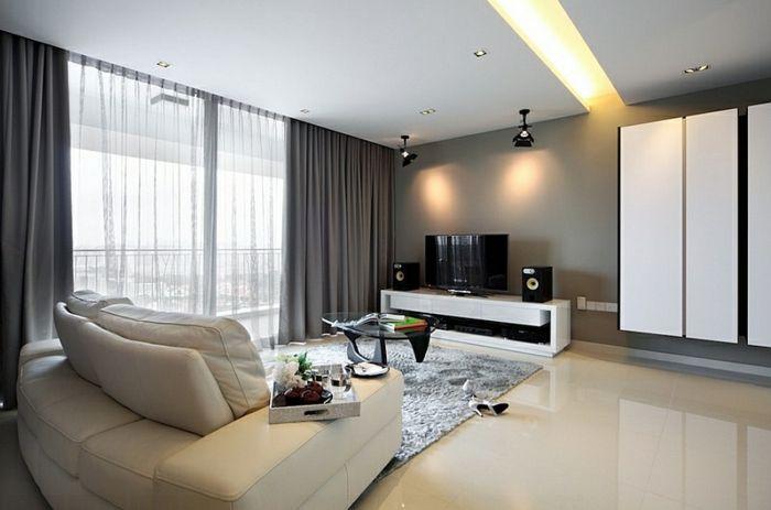 Vitrage en overgordijnen achter verlaagd plafond for the home