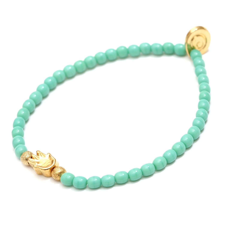 Solid Mini Hamsa Hand Glass Bead Bracelet
