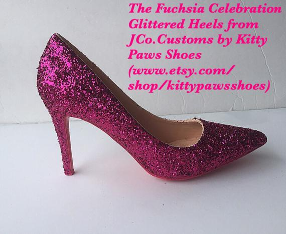 Pink Heels Women s Custom Hot Pink Glitter High Pumps  Free U.S. Shipping   JCo.Customs by Kitty Paw c610c5e87