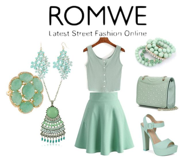 """ROMWE"" by alma-ja ❤ liked on Polyvore featuring Tory Burch, Chicwish, Call it SPRING and Decree"