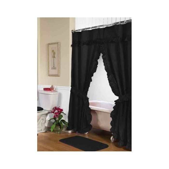 Biermann Double Swag Single Shower Curtain Black Shower Curtains