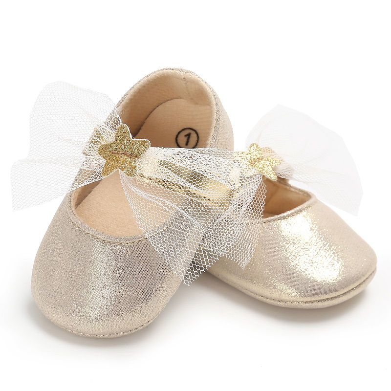 15739e61972a 4 Colors Baby Girls Princess Shoes PU Leather Bling Bling Sweet Lace Star  Mary Jane Kids