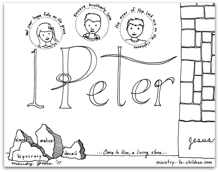 this free coloring page is based on the book of 1 peter its one part of our series of illustrations for each individual book of the bible