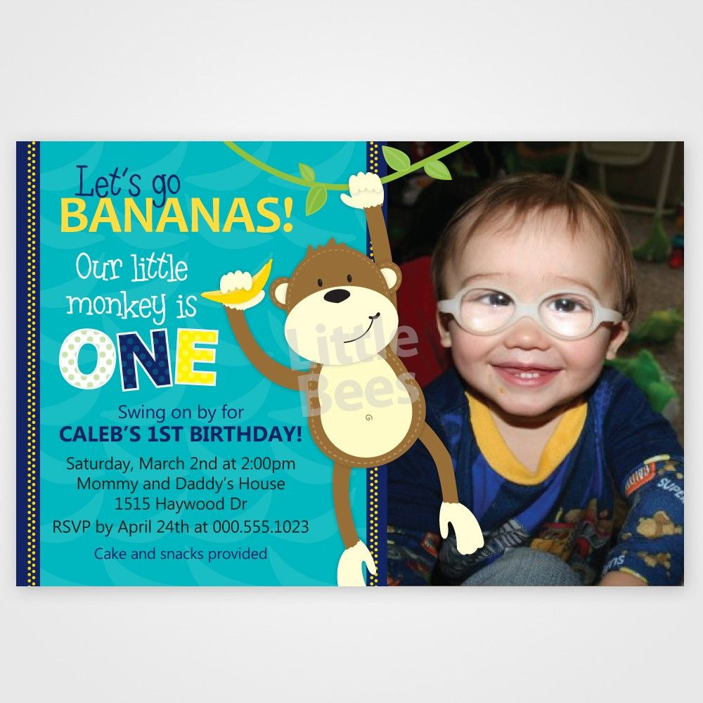 Printable Monkey Birthday Invitations Free | Parker\'s First Birthday ...