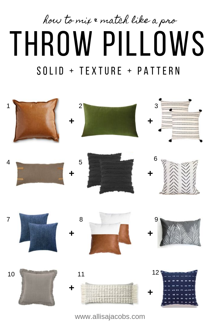How To Mix And Match Throw Pillows Like A Pro Allisa Jacobs Throw Pillows Living Room Throw Pillows Bed Throw Pillow Arrangement