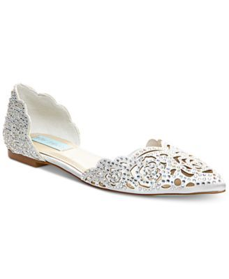 Betsey Johnson Blue by Betsey Johnson Lucy Rhinestone-Embellished Satin d'Orsay Flats