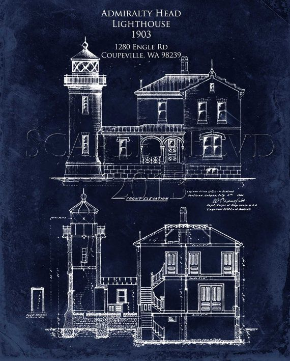 Admiralty Head Lighthouse 8 X 10 Architectural Blueprint Art Print Lighthouse Lighthouse Art Architecture Blueprints