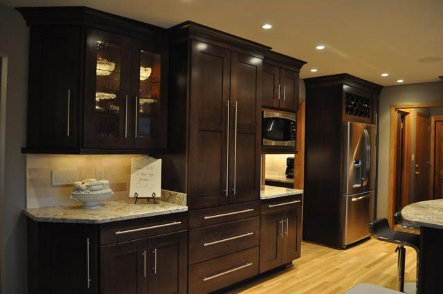 K G Stevens Dark Wood Cabinets Kitchen Remodeling Kitchen Design Ideas Kitchen Design Trends Kitchen Remodel Kitchen Design