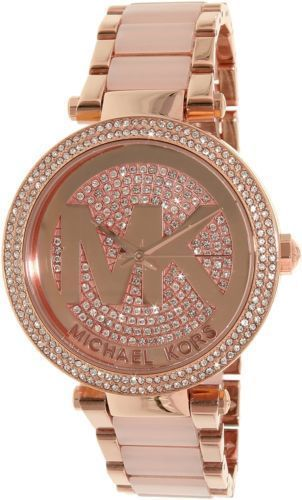 e638c0dc890d Michael Kors Original MK6176 Womens Parker Rose Gold Blush Crystal Set Watch