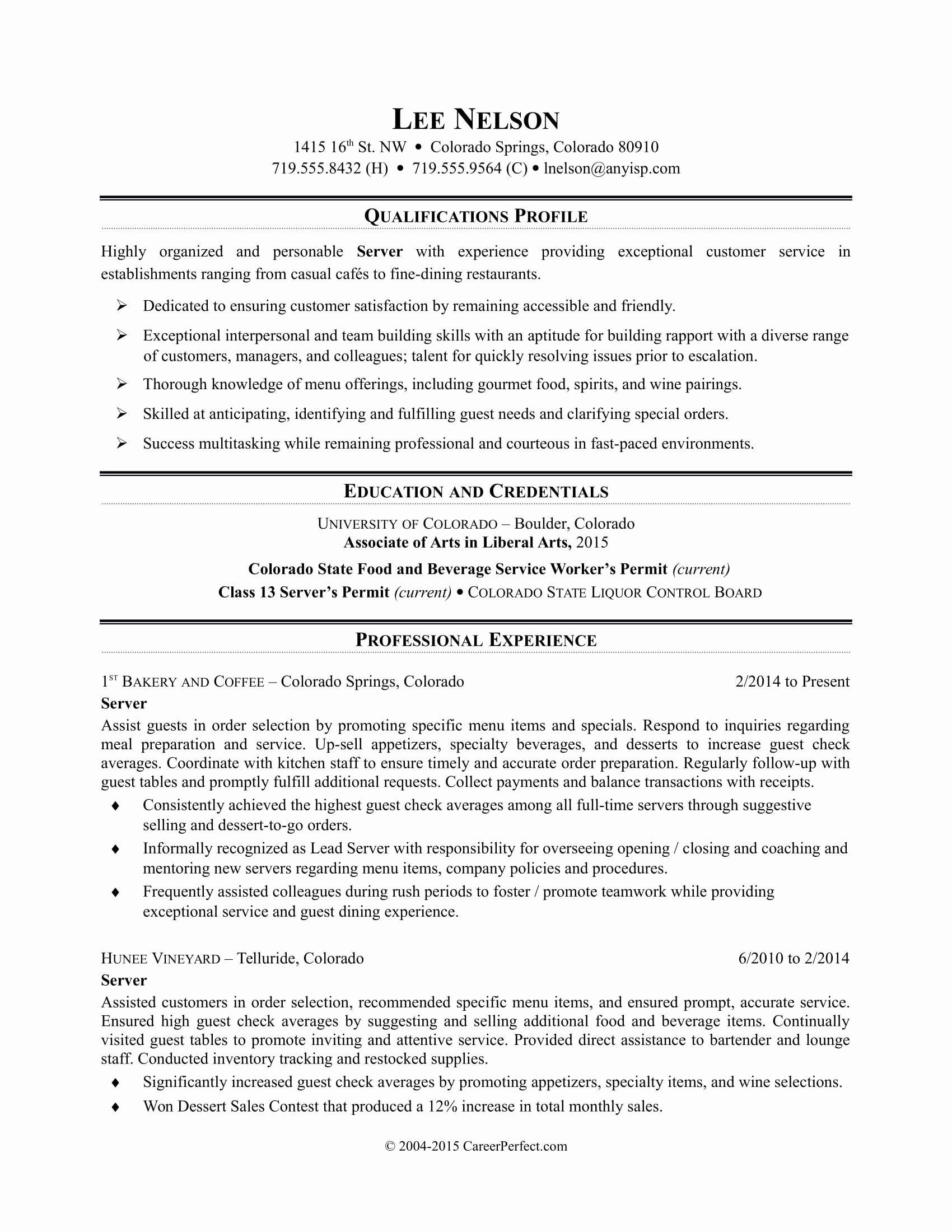 Server Job Description Resume Best Of Restaurant Server
