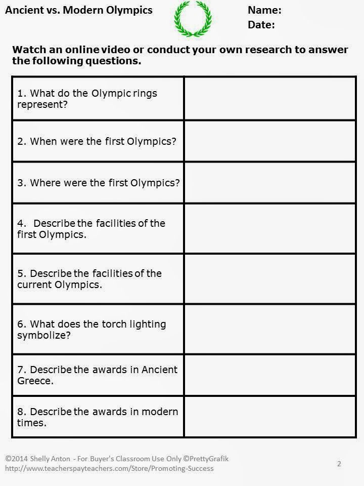Promoting Success Olympics Activities For Your Classroom School