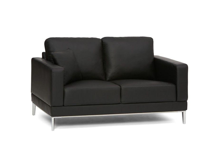 sofas small leather eva spaces space couches furniture black loveseat loveseats for