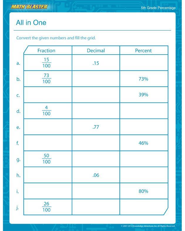Percentage Printable \u2013 Percentage Worksheet for Kids - Math Blaster