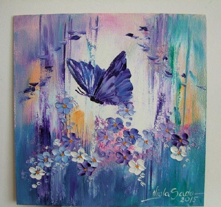 Butterfly Flowers Original Impasto Oil Painting Blue Purple Board