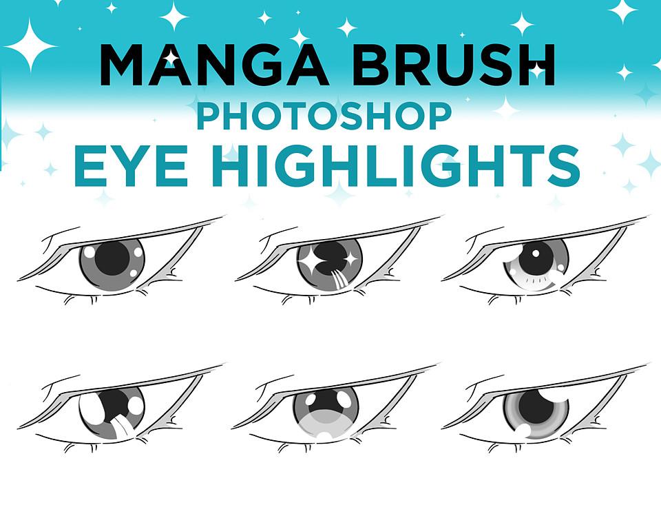 Manga Brush Eye Highlights For Photoshop Photoshop Eyes Photoshop Highlighter Brush