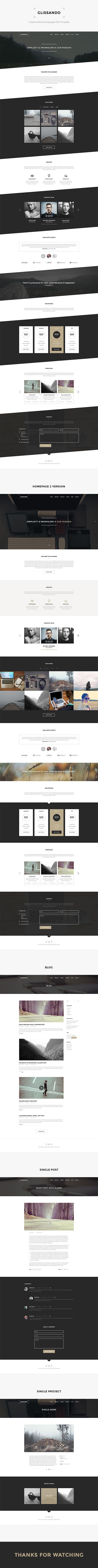 Nice subtle effect - slanted rather than horizontal, Glissando – Creative Minimal Onepage PSD Template on Behance