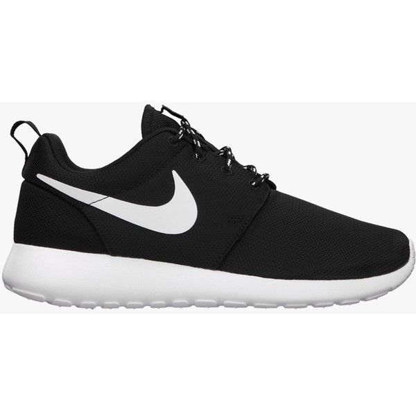 Nike Womens Roshe Run - Black/White/Volt (110 AUD) ❤ liked on Polyvore featuring shoes, sneakers, nike, trainers, nike footwear, white black shoes, nike shoes, light weight shoes and white and black shoes