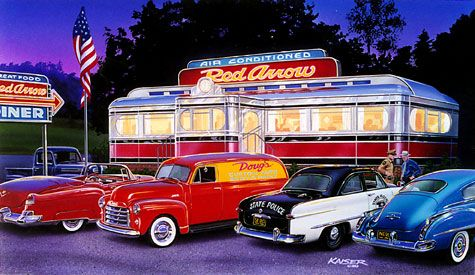 Diner Classic Car Hotrod Drawing Print LIMITED EDITION SALE
