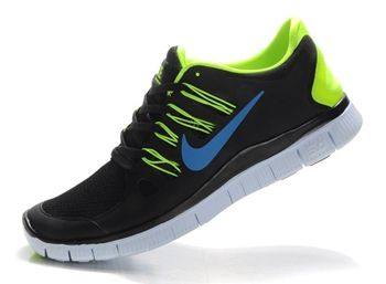 low priced 3bdc8 f1b0f Nike Free Run 5.0 Mens Black Fluorescence Green Running Shoes