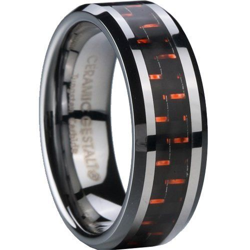 Tungsten Carbide Ring With Black and Copper-Red Carbon Fiber Inlay. 8MM width. Comfort fit. (avail. Sizes 5 to 14)  Price : $39.95 http://www.ceramicgestalt.com/Tungsten-Carbide-Copper-Red-Carbon-Comfort/dp/B00AH06XOK