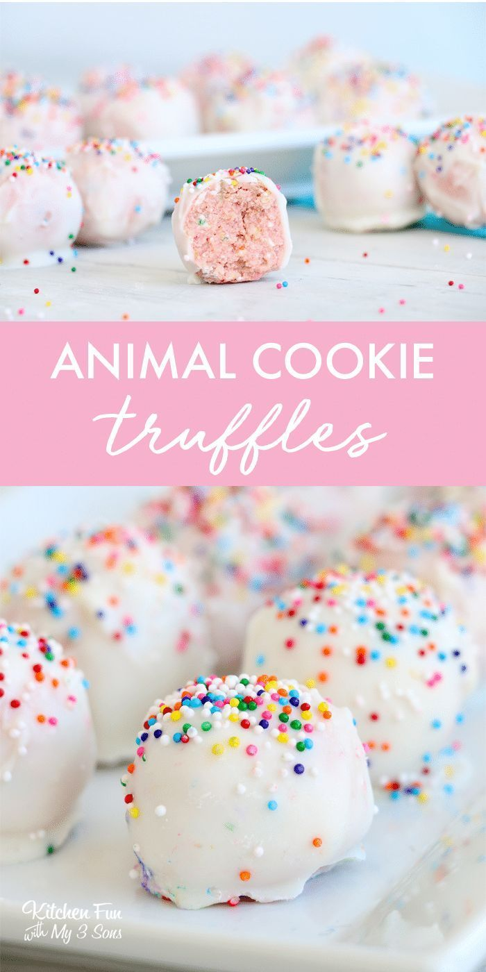 Cookie Truffles combine yummy frosted animal cookies, cream cheese and chocolate. They're absolutely delicious and completely beautiful!