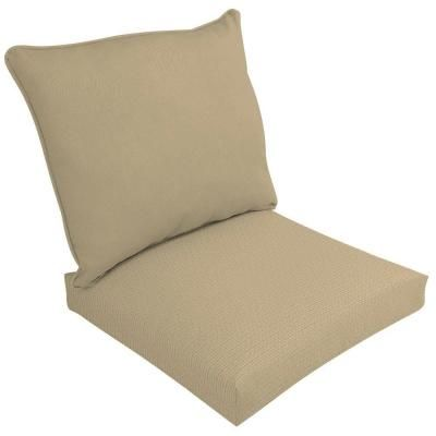 Hampton Bay Spectrum Sand Pillow Back Outdoor Deep Seating Cushion