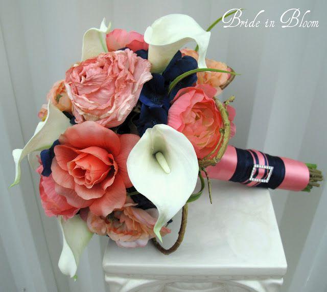 Bride in Bloom: Navy Blue Coral Wedding Bouquets