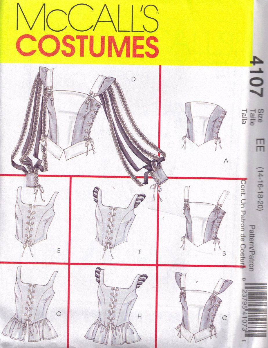 McCalls 4107 Sewing Pattern Corset Renaissance Medievil Halloween ...