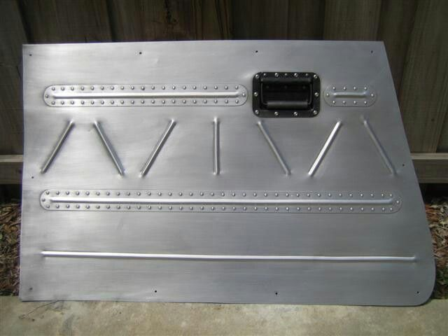 Bomber Style Riveted Metal Door Panel.