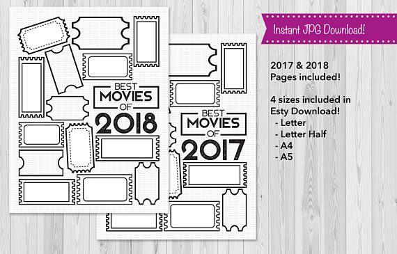 Movies, Bullet Journal 2018 Movies List, Planner Insert, BuJo