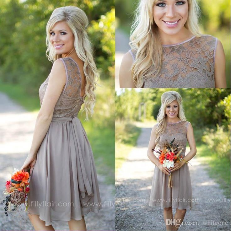 Bridesmaid dresses short lace grey