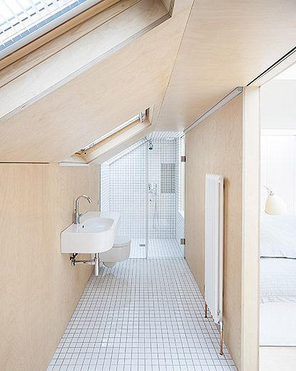 Azman Architects Loft Bathroom Birch Ply Wall Finish