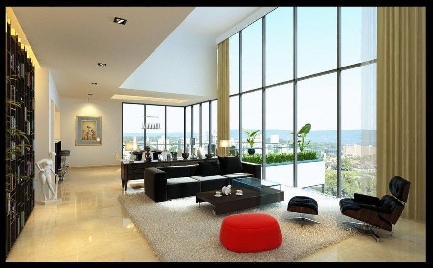 Modern Luxurious Penthouse Living Room With Dark Furniture And White Marble  Floor U2014 Inspirational Showcase Of Part 49
