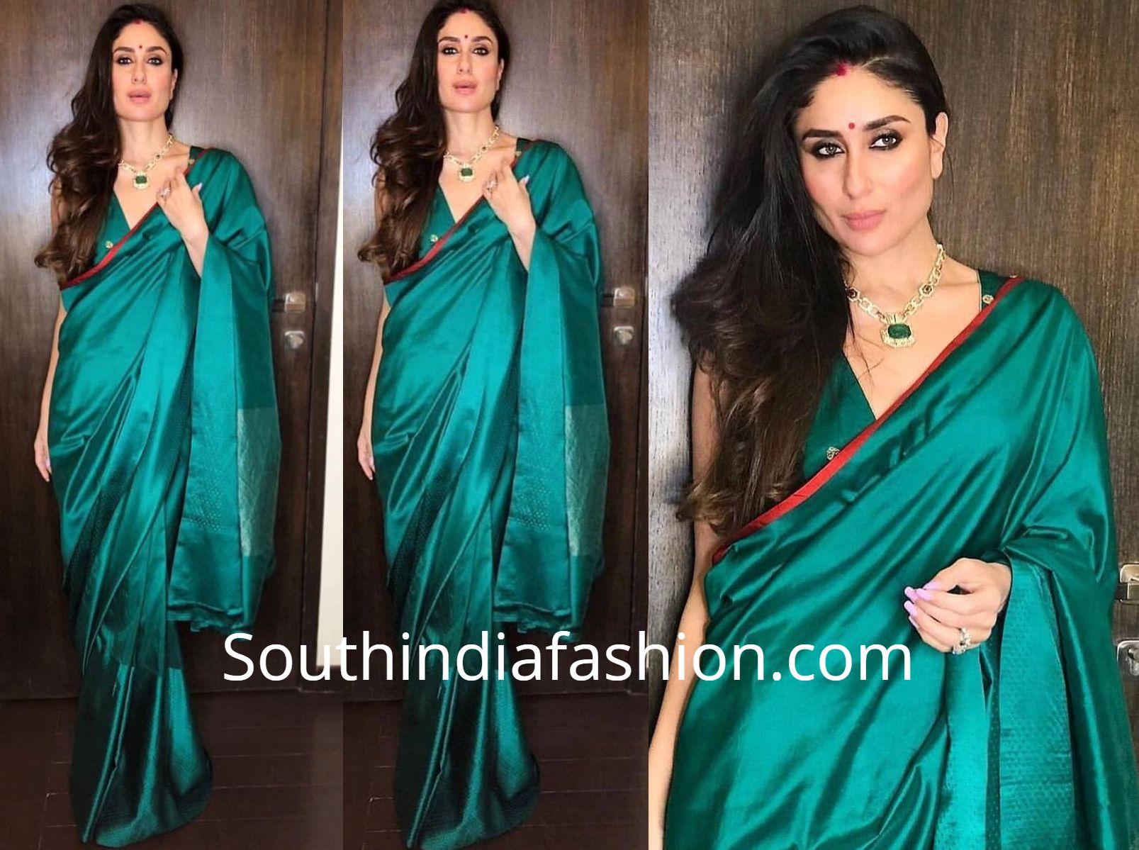 Kareena Kapoor S Festive Look South India Fashion Kareena Kapoor Saree Saree Look Green Saree