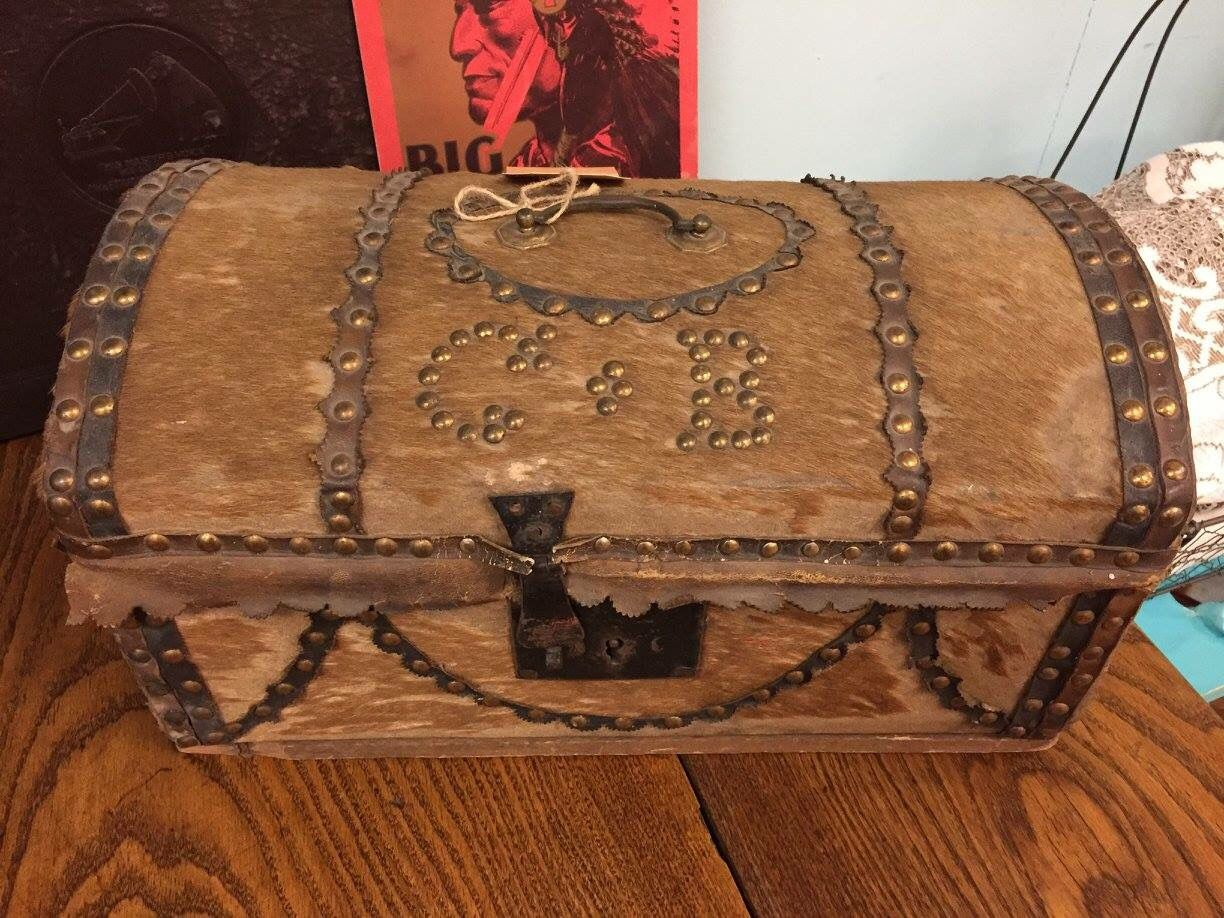 Antique stagecoach trunk with owners initials and covered ...