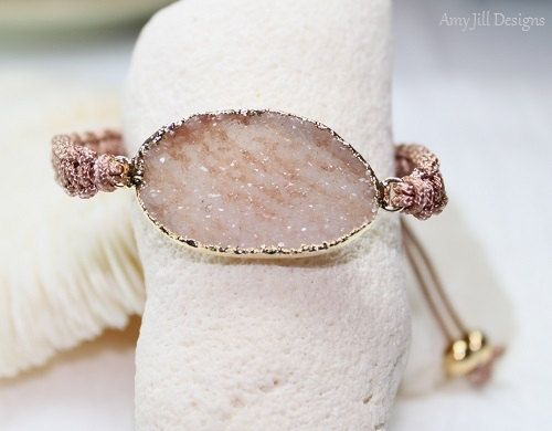 Druzy Macrame Bracelet Tan Brown Druzy Jasper by AmyJillDesigns,
